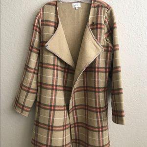 Brown Plaid Flannel Long Wool Pea Coat
